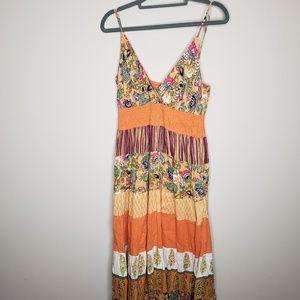 BILA Sleeveless Maxi Dress Boho Lagen Look Lined